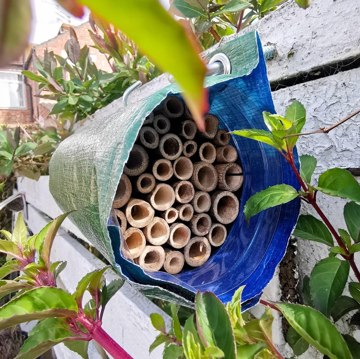 Bee hotel installed in garden