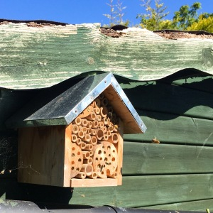 Occupied bee hotel with solitary bees hovering